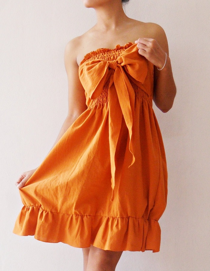 Party Princess Sweet Orange Mini Dress cotton. $30.00, via Etsy. what an awesome way to dress up a simple strapless dress