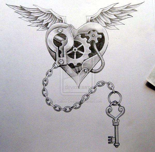 heart wings key tattoo design by https://www.facebook.com/cornea.catalin