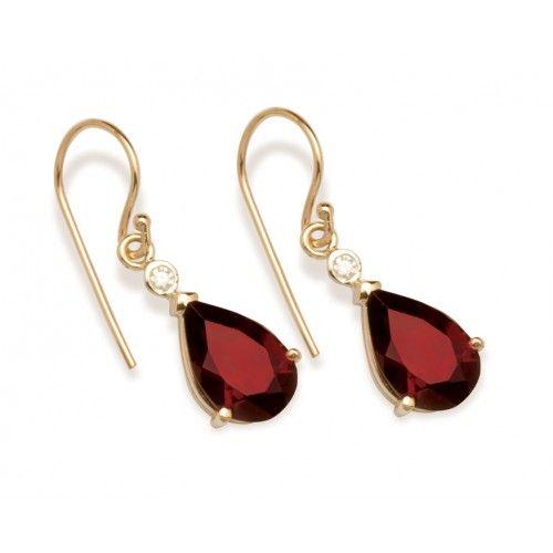 9ct Teardrop Garnet & Diamond Earring. gerrim.com