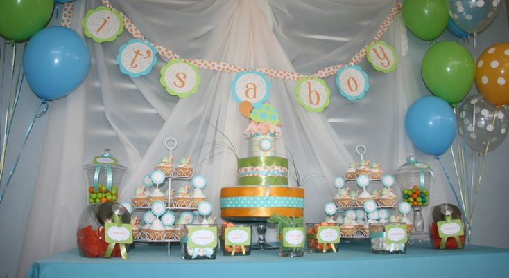 blue, orange, green shower: Baby Shower Theme, Baby Shower Decorations, Turtles Baby Shower, Baby Shower Ideas, Parties Ideas, Shower Curtains, Turtle Baby Showers, Boys Baby, Baby Shower