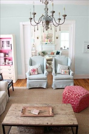 Benjamin Moore glass slipper paint. I want to paint my family room and kitchen this color.