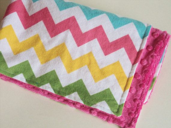 CHEVRON BABY BLANKET - Security Blanket - Baby Girl Blanket - Lovey - Minky & Flannel Travel Blanket on Etsy, $18.31