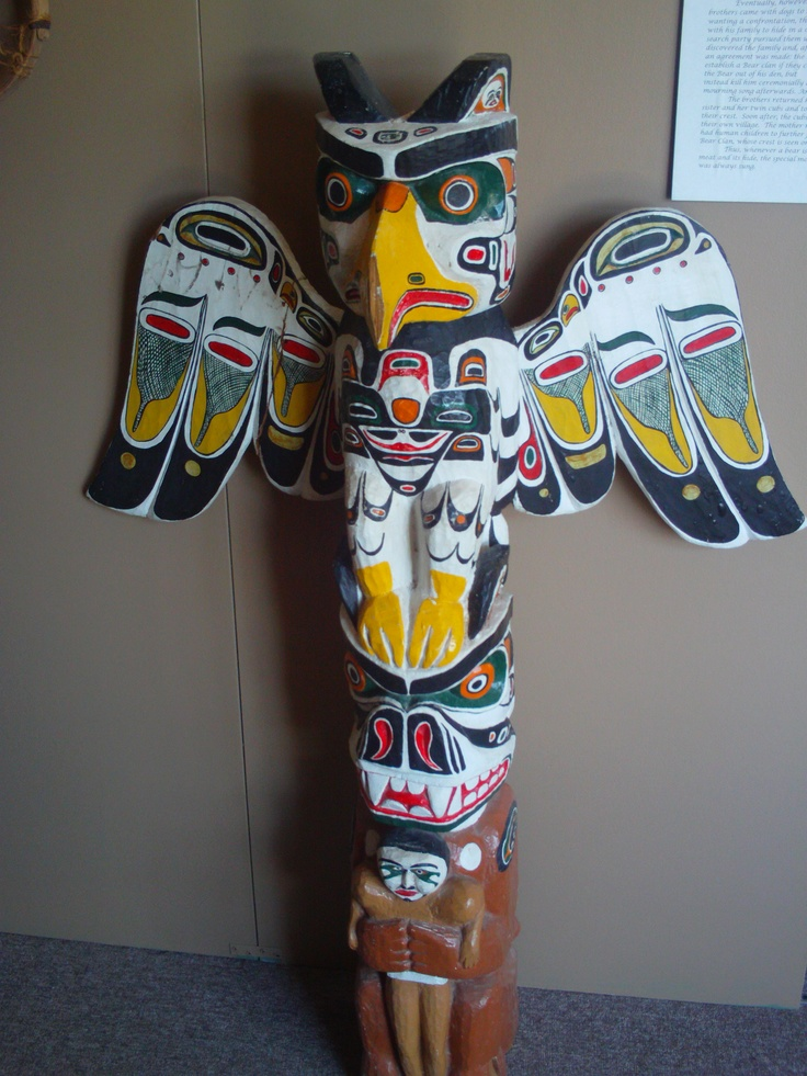 Totem Pole on display in museum at Murray Harbour.