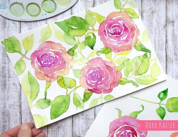 Malen lernen mit Aquarell: Rosen