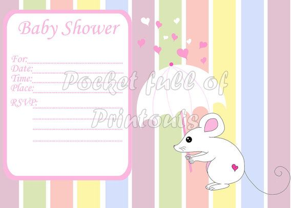 Printable Baby Shower Invitation with pink by PocketFulOfPrintouts