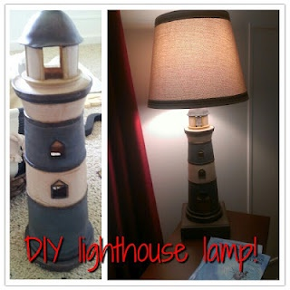 Purposeful Productions: DIY: Lighthouse Lamp... Make your own custom lamp for under $25 with a little creativity!