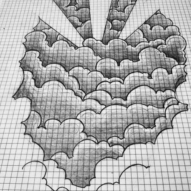 """Cloud Tattoo Drawing: First Part Of Forearm """"rising Sun Blends Into Tribal"""