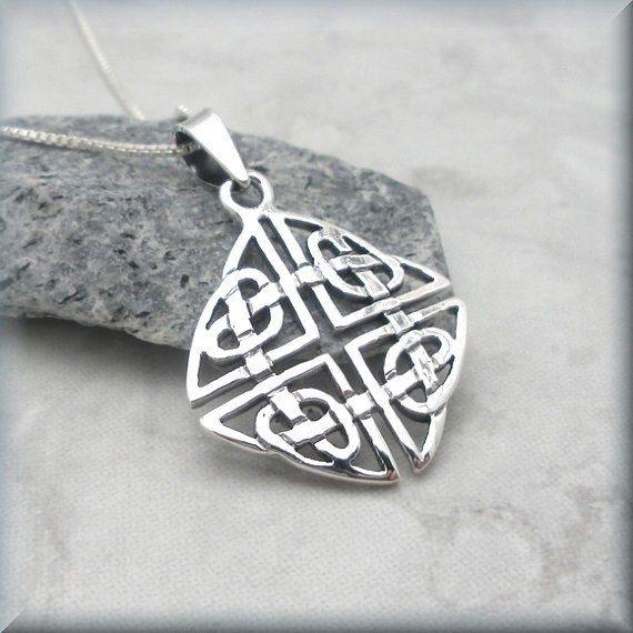 Celtic Love Knot Necklace Sterling Silver Pendant by BonnyJewelry, $24.00