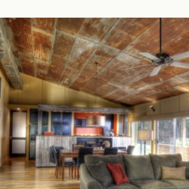 Tin roof for ceiling....love the idea | 4 the house ...