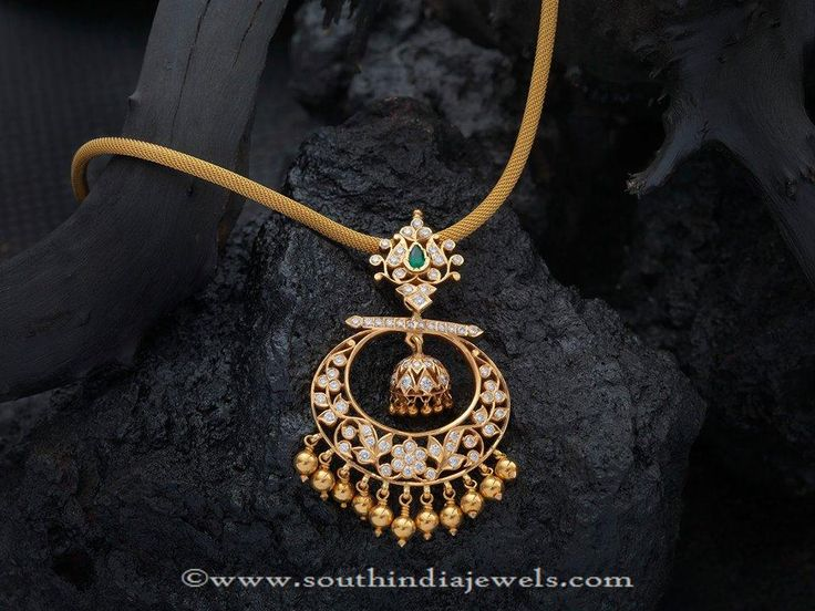 Gold Stone Attigai Necklace, Gold Attigai Necklace with Stone Pendants.