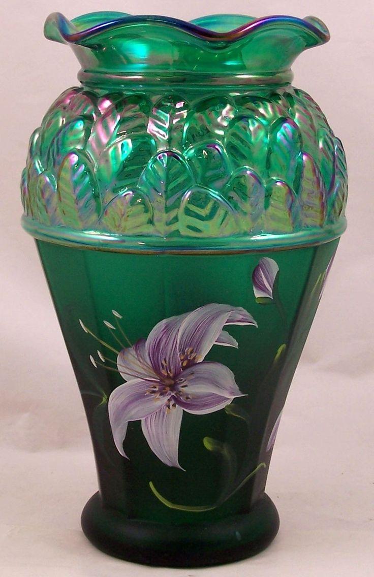 71 best fenton that doesnt fit images on pinterest vase fenton green iridescent art glass vase hand painted flowers signed m caplinger reviewsmspy
