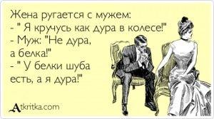 """Аткрытка №350609: Жена ругается с мужем:  - \"""" Я кручусь как дура в колесе!\""""  - Муж: \""""Не дура,   а белка!\""""  - \"""" У белки шуба   есть, а я дура!\"""" - atkritka.com"""