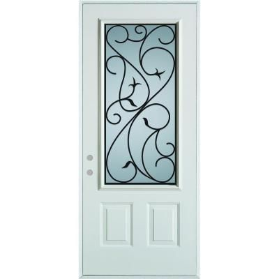 36 In X 80 In Silkscreened Glass 3 4 Lite 2 Panel Prefinished White Steel Prehung Front Door