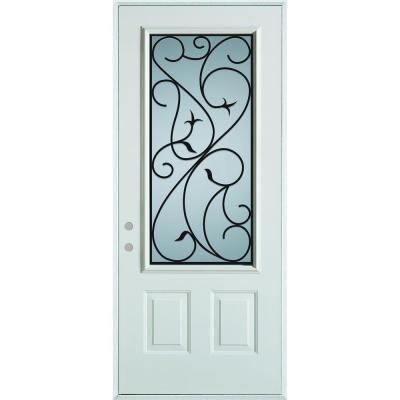 36 in x 80 in silkscreened glass 3 4 lite 2 panel - Home depot exterior doors 36 x 80 ...
