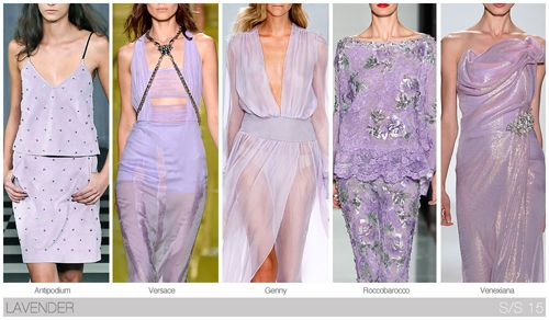 Top 10 Women's colors for Spring / Summer 2015, by Fashion Snoops. As the most saturated powder shade, lavender progresses from last season.
