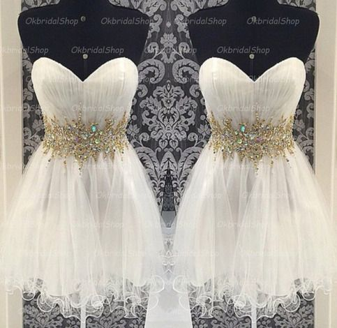The Short white prom dressare fully lined, 8 bones in the bodice, chest pad in the bust, lace up back or zipper back are all available, total 126 colors are available. This dress could be custom made, there are no extra cost to do custom size and color. Description of Short white prom dress ...