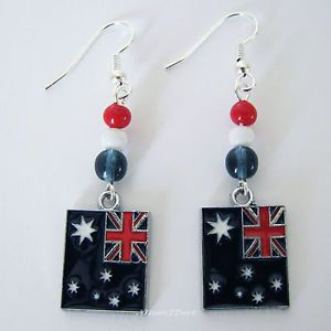 Australian Flag Australia Day Earrings with Surgical Steel Ear wires by Missie77art Jewellery on ebay
