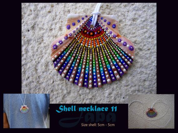 Unique handpainted shell necklace made by jaba