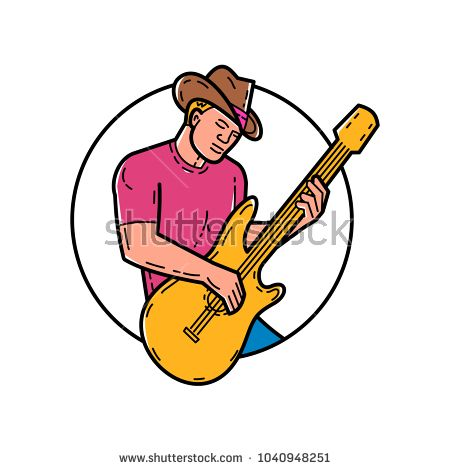 Mono line illustration of cowboy rocker, guitarist, band member, musician or guitar player, playing the guitar set inside circle done in monoline style.  #cowboy #monoline #illustration
