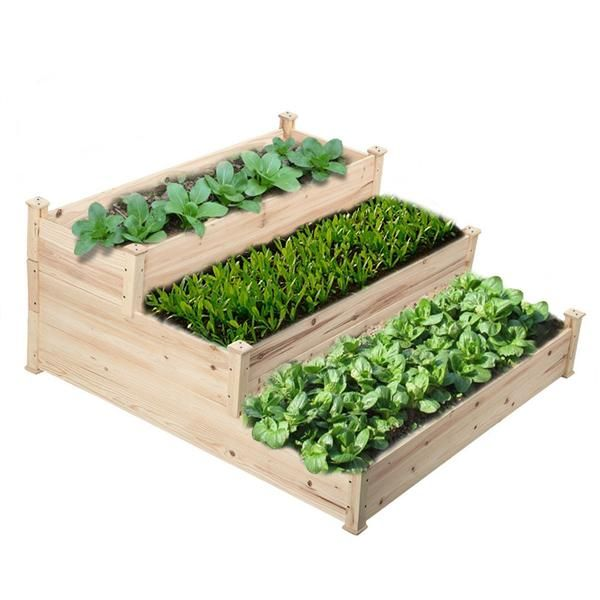 Smilemart 3 Tier Wooden Raised Elevated Garden Bed Planter Box Kit Flower Vegetable Bed Walmart C Vegetable Garden Raised Beds Garden Beds Raised Garden Beds