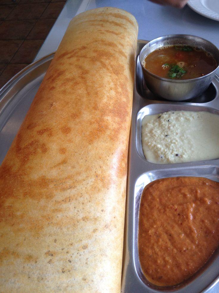 Vegetarian Dosa with Sambar and coconut chutney