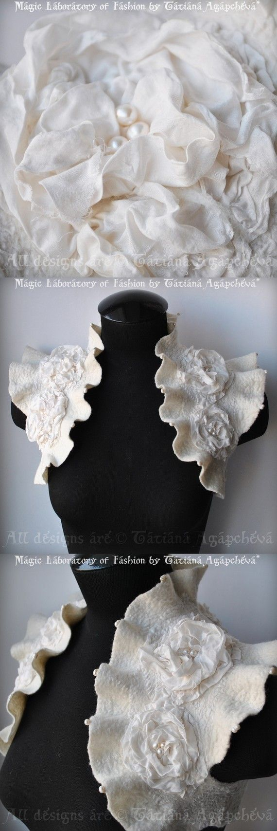 A crafted felt, pearl-beaded shrug. Beautiful for a Victorian Bride..
