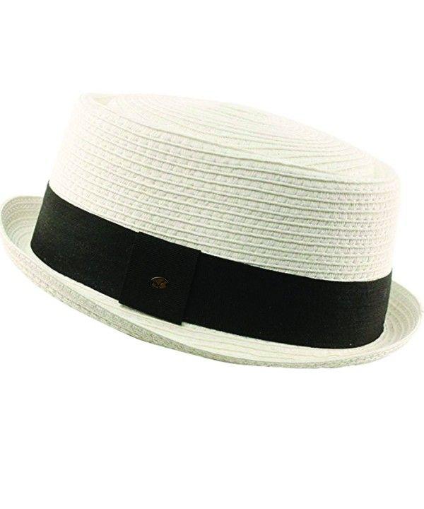 a858ba501 Men's Cool Summer Straw Pork Pie Derby Fedora Upturn Brim Hat White ...