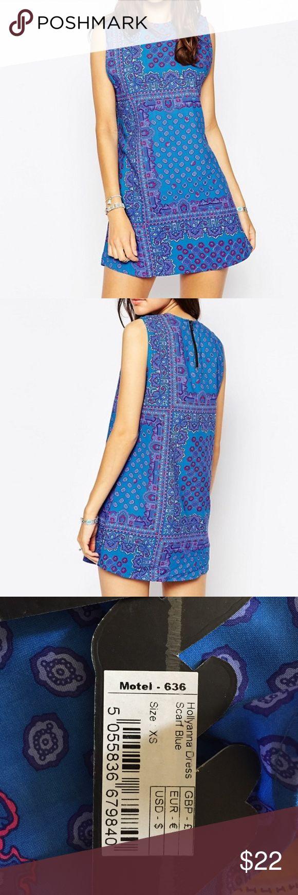 NWT- Motel Hollyanna dress, scarf blue NWT, scarf blue Motel Dresses Mini