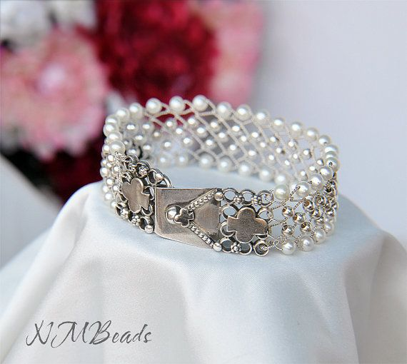 OOAK Fine Silver Woven Cuff Bracelet With Freshwater Pearls and Silver Beads, Braided Bracelet, Artisan Jewelry, Wedding Jewelry