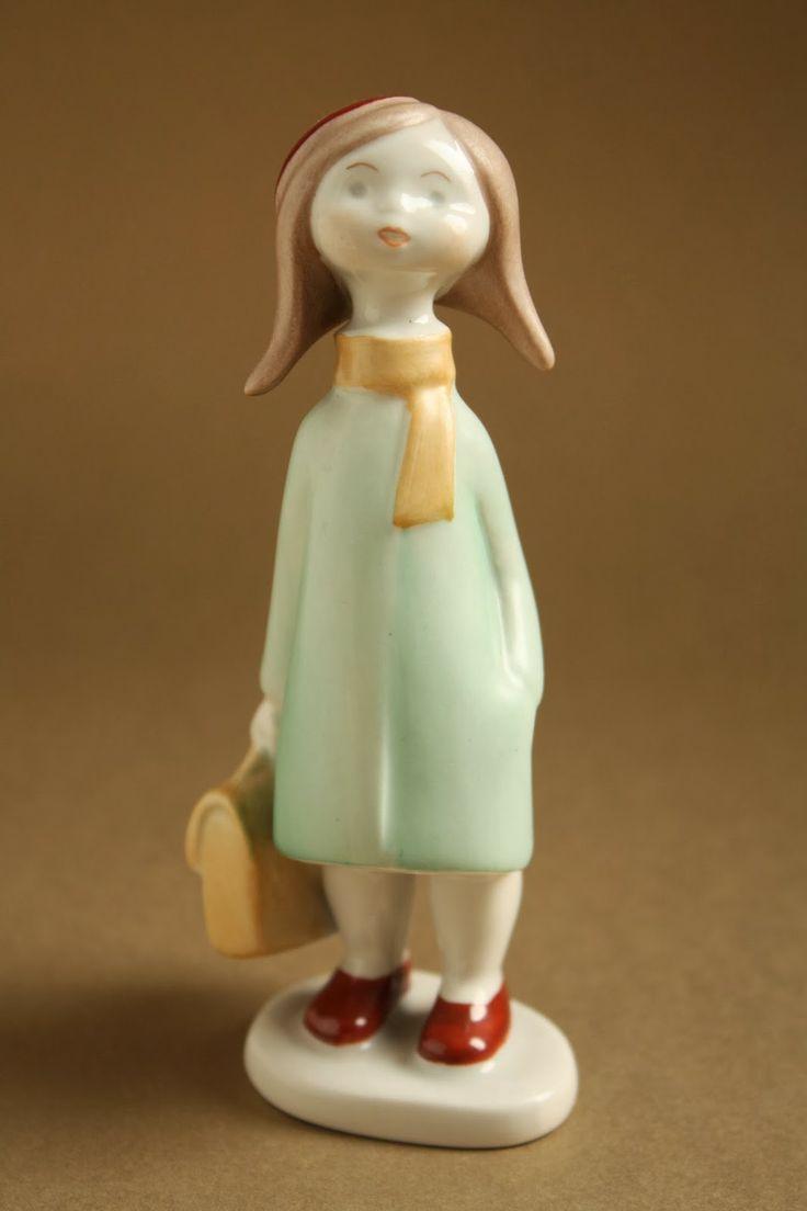 Art deco porcelánok: Utazó kislány - Aquincum porcelán
