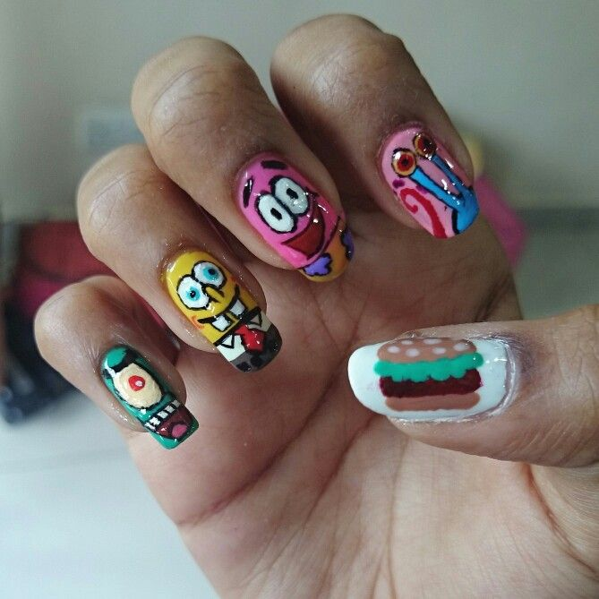 Spongebob squarepants, Patrick star, plankton, Gary, krabby patty nails