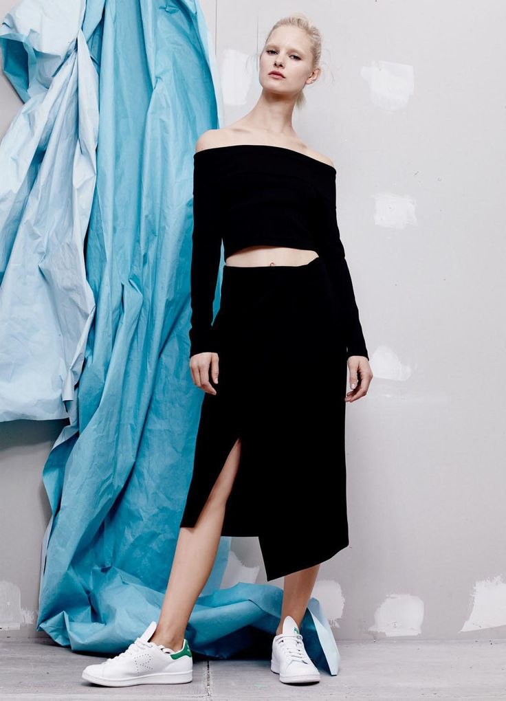NICHOLAS - Ponti Off Shoulder Fold Top In Black