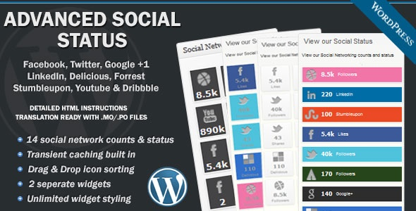 Advanced Social Status - Advanced Social Status allows you to display an advanced WordPress Dashboard widget to display your Social Networking counts and status.    The Widget has been developed to he highest quality standards and tested in all major modern browsers.