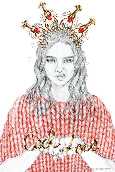 GOLD Crush mina k _ fashion illustration minak.kr