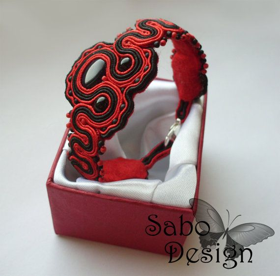 BEIJING - soutache one of a kind bracelet handmade embroidered by SaboDesign.