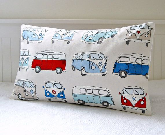 VW camper van cushion cover retro lumbar pillow by LittleJoobieBoo, £16.50