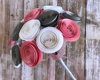 Pink Paper Wedding Bouquet - Pink and Grey Flower Bridal Bouquet - Spiral Rose Wedding Bouquet - Pink Gray and White Bouquet - Pink Wedding