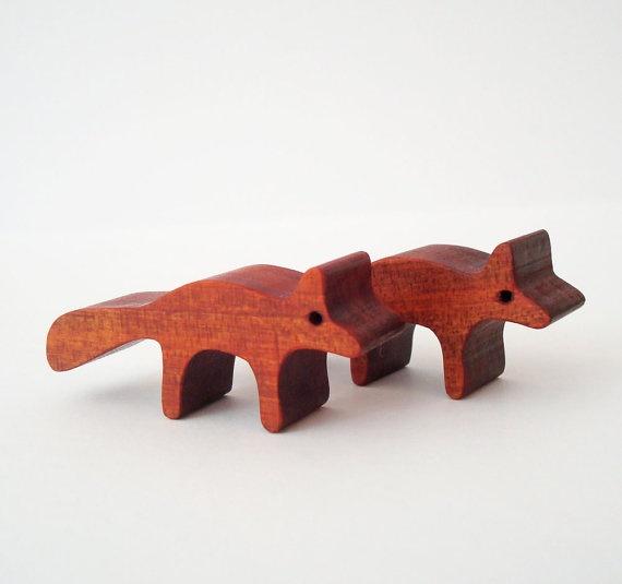 Waldorf Toys Wood Fox Pair Miniature Noah's by OohLookItsARabbit, $8.00