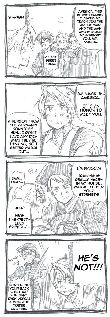 """Oh! Prussia/America comic I didn't realize existed! (""""Hetarchive Scanlations"""") Prussia teaching America how to fight for the Revolution"""