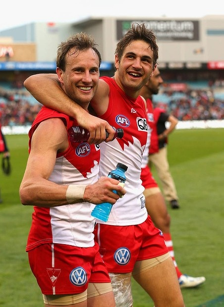 Jude Bolton and Josh Kennedy celebrate after the Second AFL Qualifying Final match against the Crows at AAMI Stadium, 2012.
