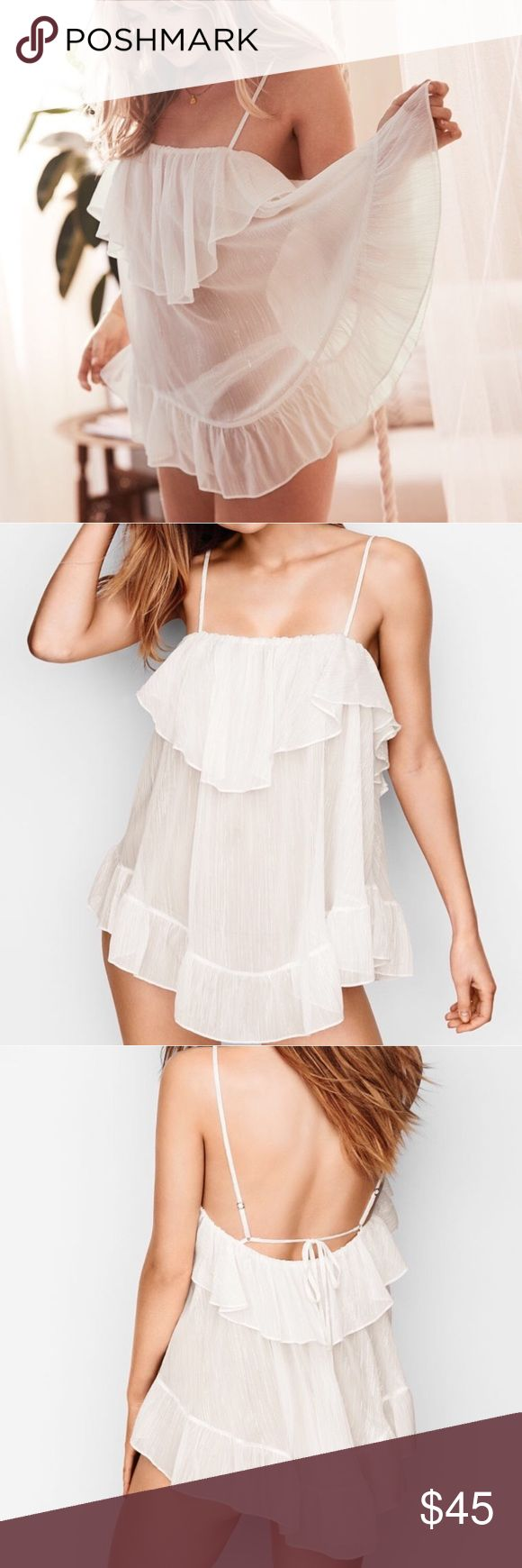 Victoria's Secret chiffon ruffle white babydoll! Brand new with tags! Chiffon material. White color with metallic specks within the thread. Very sexy and unique! Victoria's Secret Intimates & Sleepwear Chemises & Slips