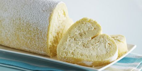 A simple and rich lemon mascarpone mousse fills this pretty, heart-shaped roulade. anna olson