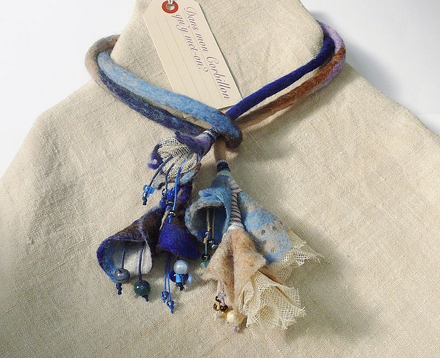 Necklace | Dan mon corbillon Designs.  Felted wool, ribbons and beads.