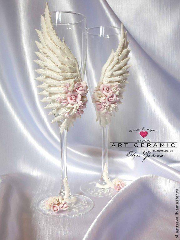 """Купить Свадебные бокалы """"На крыльях любви..."""" - белый, крылья, крылья ангела, роза"""