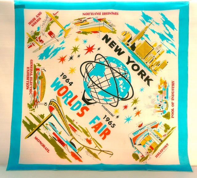 New York World's Fair 1964 Souvenir Scarf.