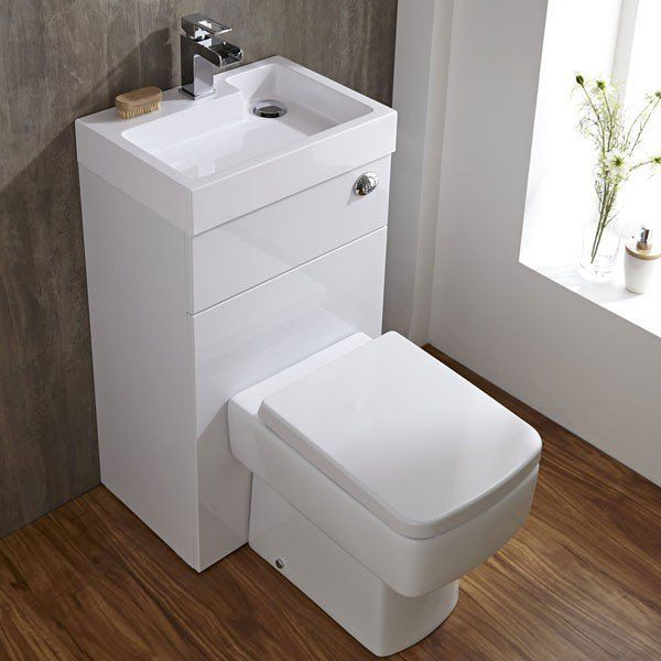 Gloss White Toilet With Integrated Basin Space Saving Bathroom