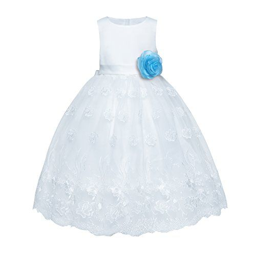 6c99762b1f7f Amberry Little Big Girl s Flower Formal Party Dress Blue