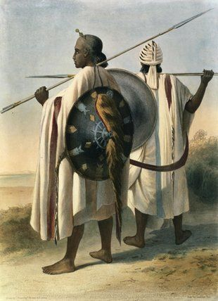 Africa | Abyssinian Warriors, illustration from 'The Valley of the Nile', engraved by Eugene Le Roux pub. by Lemercier, 1848.