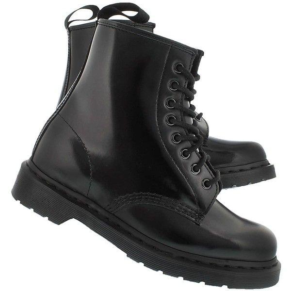 Dr Martens Women's 1460 8-Eye black mono smooth boots ($185) ❤ liked on Polyvore featuring shoes, boots, kohl boots, dr. martens, kohl shoes, dr martens footwear and black boots