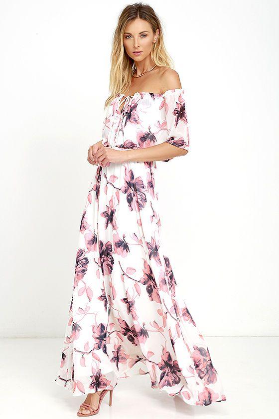 af1880db7b Infinite Love Ivory Floral Print Off-the-Shoulder Maxi Dress ...